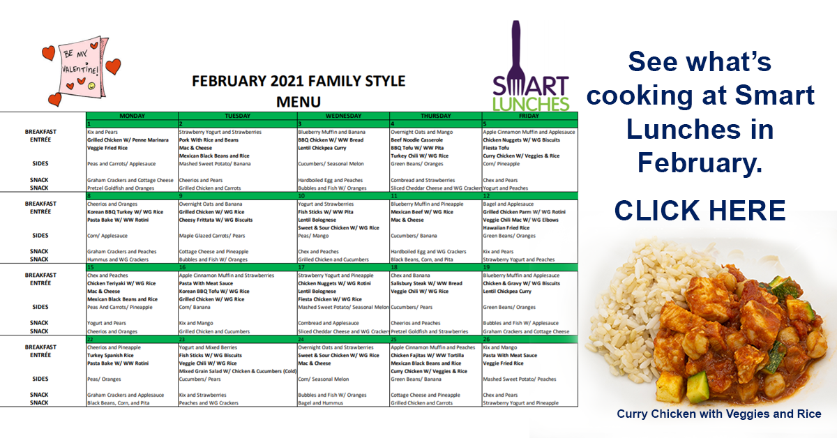 February 2021 Smart Lunches Menu