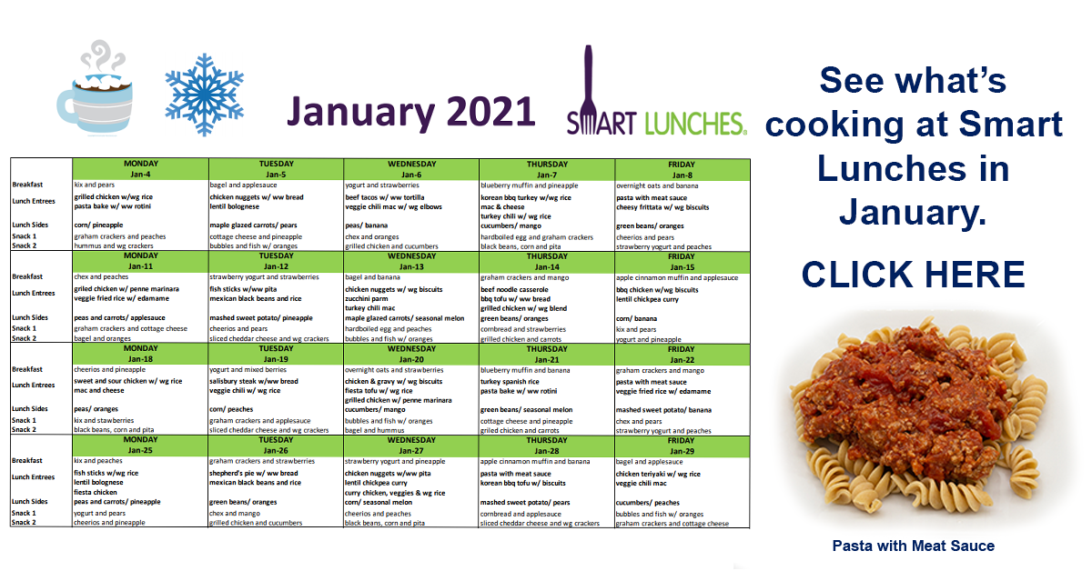 January 2021 Smart Lunches Menu