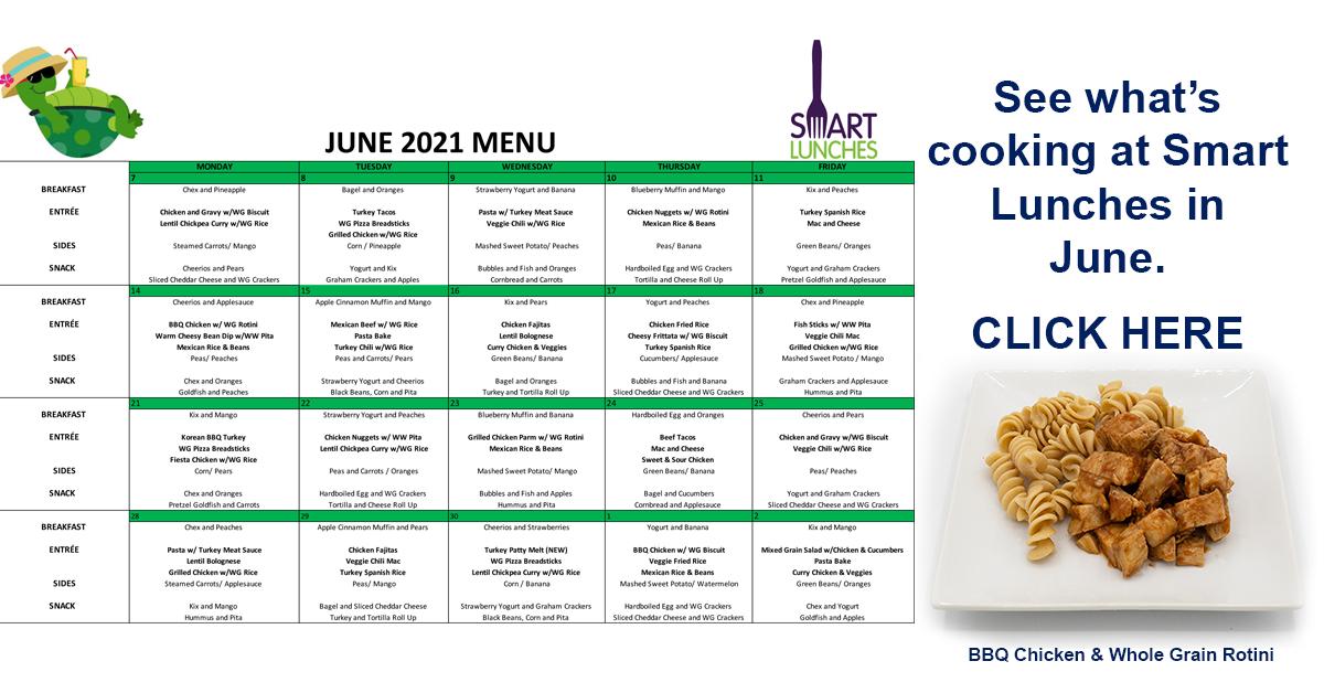 June 2021 Smart Lunches Menu