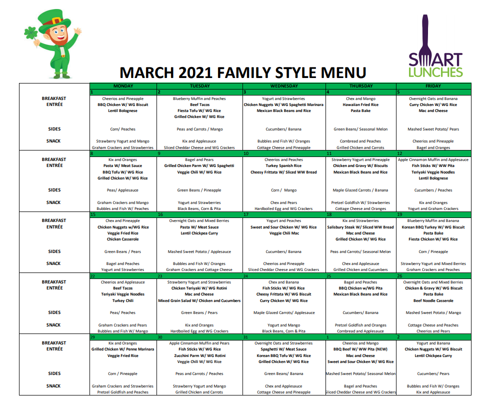 March 2021 Smart Lunches Menu