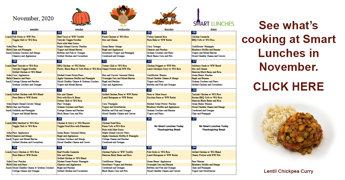 Smart Lunches' New Menu Selections for November
