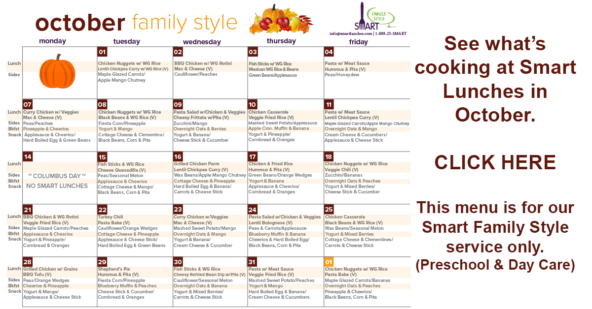 October 2019 Family Style Menu