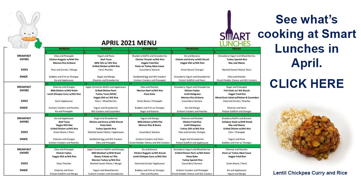 April 2021 Smart Lunches Menu